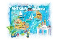 Antigua Barbuda Antilles Illustrated Caribbean Tra
