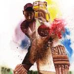 Driven - cricket painting Prints & Posters
