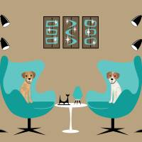 """""""two egg chairs with dogs"""" by DMibus"""