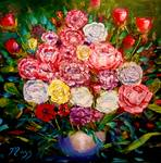 Palette Knife Roses by Mazz by Mazz Original Paintings