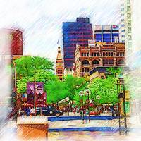 Denver Pedestrian Mall Sketched by Kirt Tisdale