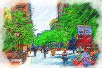 Denver 16th Street Mall Sketched by Kirt Tisdale