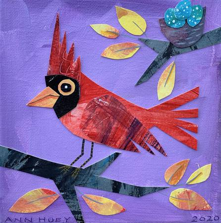 Cardinal in Cut Paper