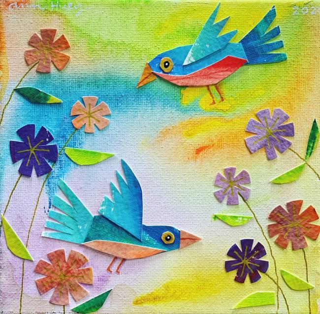 Bluebirds in Flowers