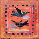 Two Blackbirds and An Orange Sky by Ann Huey