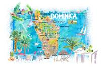Dominica Antilles Illustrated Travel Map with Road
