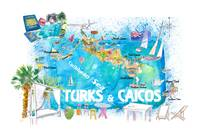 Turks & Caicos Antilles Illustrated Travel Map wit