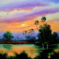 Sunrise In The Everglades Art Prints & Posters by Mazz Original Paintings