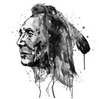 Black and White Sioux Warrior Watercolor