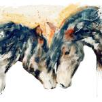 Wild Horses Watercolor Painting Prints & Posters