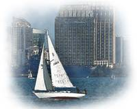 Sailboat In San Diego Bay by Kirt Tisdale