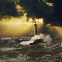 God-Ray-Lighthouse Art Prints & Posters by John Lund