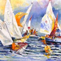 Youngster Sailing Regatta Art Prints & Posters by Barbara Pommerenke