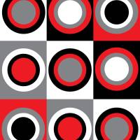 Red Gray Black White Circles Pattern Art Prints & Posters by Valerie Waters
