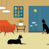 Mid Century Room with Dobermans Art Prints & Posters by Donna Mibus