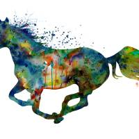 Colorful Running Horse Silhouette Art Prints & Posters by Marian Voicu