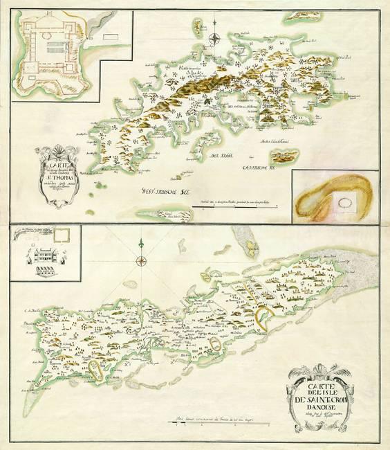 1734 st thomas and st croix map by artistiqueprints