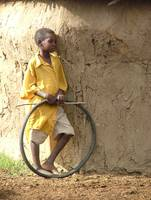 Boy with a makeshift bike