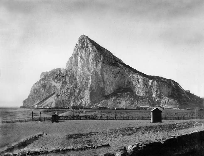Rock of Gibraltar from the beach, c1900