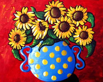 Sunflowers in Blue Polka Dots by artist Renie Britenbucher. Giclee prints, art prints, posters, still life, floral, flowers, sunflower; from an original  painting