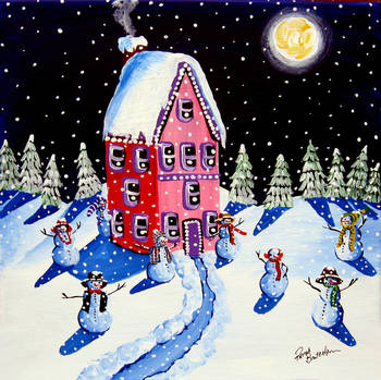 Magic Snowmen Under the Moon by artist Renie Britenbucher. Giclee prints, art prints, posters, a landscape with snow and snowmen, a night scene; from an original  painting