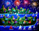 Fourth Of July Fireworks Fun Folk Art Posters