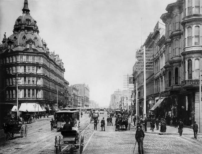 Market and 5th viewing East, 1880, San Francisco