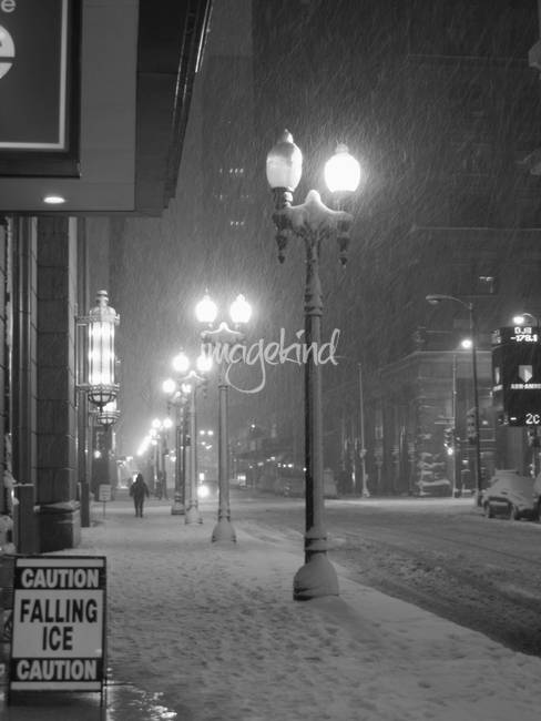 Snowfall in Downtown Chicago