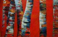 birch-trees on a red ground, Birken im Feuer