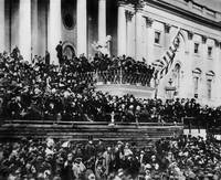 Lincoln innaguration on steps of U.S. Capital