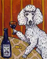 Poodle At a Wine Bar Making a Toast