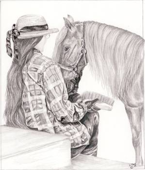 Quiet moment - Miniature horse by Shari Nees
