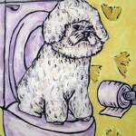 """Bichon Frise in the Bathroom"" by lulunjay"