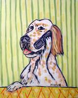 English Setter Talking on a Cell Phone