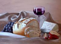 Bread and Cheese - oil on canvas