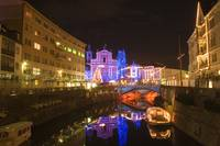 The heart of Ljubljana at night, Slovenia .