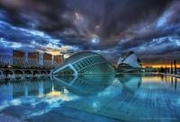 City of Arts and Sciences under a dramatic sky