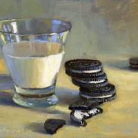 """Oreo Cookies With Glass of Milk"" by hallgroat"
