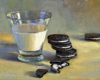 Oreo Cookies With Glass of Milk by artist Hall Groat II. Giclee prints, art prints, a still life, fine art print; from an original oil painting