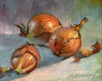 Three Onions by artist Hall Groat II. Giclee prints, art prints, a still life, fine art print; from an original oil painting