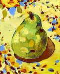 Pear on my Favorite Sunflower Tablecloth by Jennifer Lommers