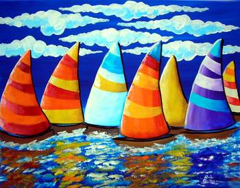 Sailboats by artist Renie Britenbucher. Giclee prints, art prints, posters, a seascape, marine art, boat race, sailboats, sailboat race; from an original  painting