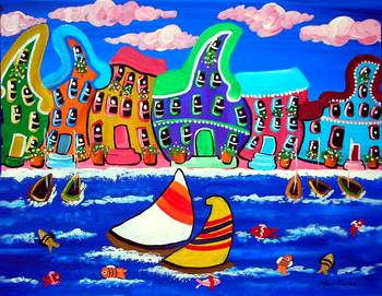 Whimsical Beach Scene by artist Renie Britenbucher. Giclee prints, art prints, posters, a seascape, marine art, boat race, sailboats, sailboat race, fish, shoreline; from an original  painting