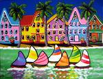 Tropical Houses and Sailboats