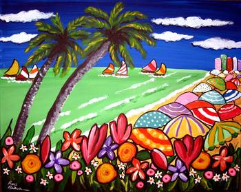 Beach Umbrellas and Flowers by artist Renie Britenbucher. Giclee prints, art prints, posters, a seascape, marine art, boat race, sailboats, sailboat race, sand & surf, palm trees, flowers; from an original  painting