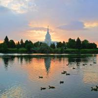 """20x30 Morning Swim Idaho Falls Temple"" by lightvoyages"