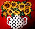 Sunflowers With Black and White Polka Dots
