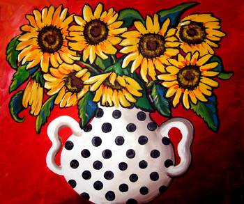 Sunfowers With Black and White Polka Dots by artist Renie Britenbucher. Giclee prints, art prints, posters, still life, floral, flowers, sunflower; from an original  painting