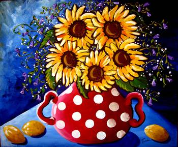 Sunflower Still Life by artist Renie Britenbucher. Giclee prints, art prints, posters, floral, flowers, sunflowers; from an original  painting