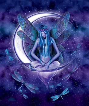 Dragonfly Moon Fairy By Michael Mcgloin